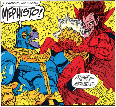 Mephisto trying to take the gauntlet from Thanos' hand.