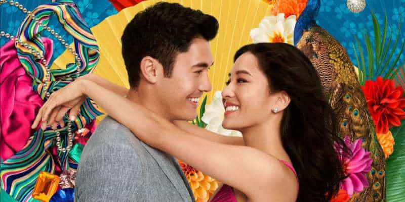 Nick and Rachel in the CRAZY RICH ASIANS movie poster.