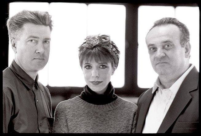 1989 black and white photo of David Lynch, Julee Cruise, and Angelo Badalamenti