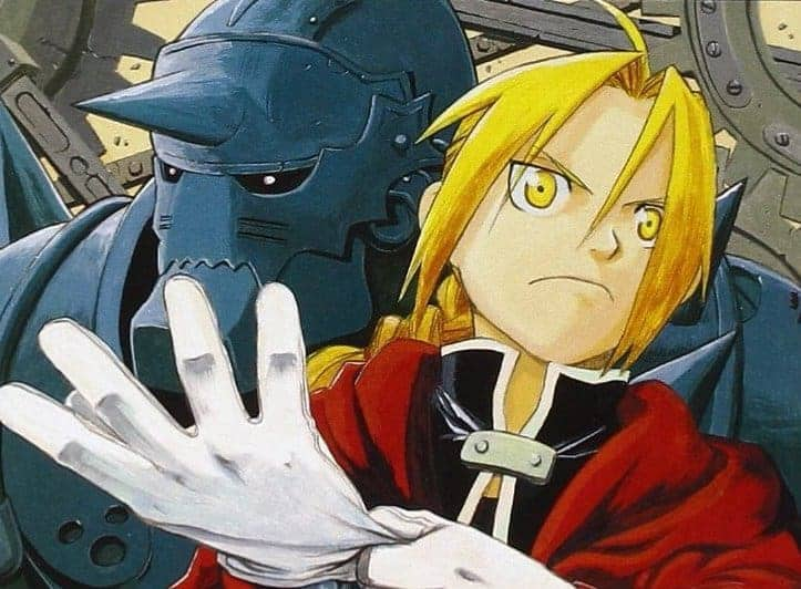 Cover art drawn by woman mangaka Hiromu Arakawa for Vol 1 of FULLMETAL ALCHEMIST, featuring Ed and Al.