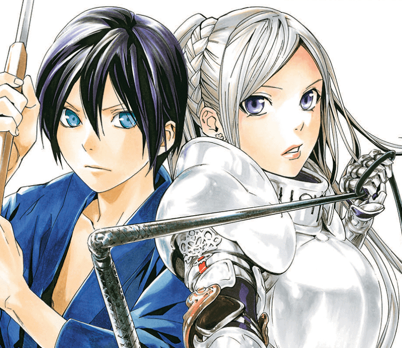 A colored art card from NORAGAMI, featuring main character and god Yato back-to-back with female Buddhist deity Bishamonten