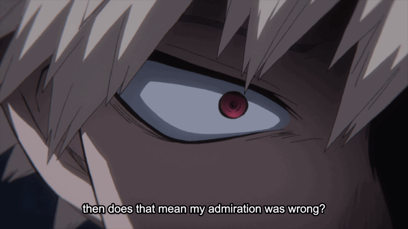 Bakugo confronting his thoughts in MY HERO ACADEMIA