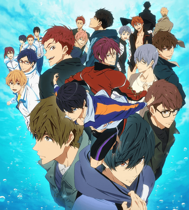A shot of the majority of the main cast of FREE! on an aquatic background.