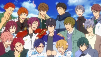The main cast of FREE! DIVE TO THE FUTURE