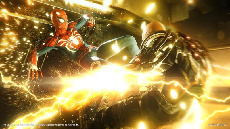 Spiderman fights Shocker in Insomniac's SPIDER-MAN.