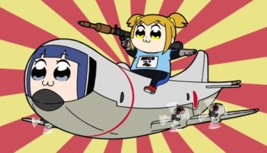Popuko with a large gun riding on top of a plane with Pipimi's face on it over a red and yellow striped background.