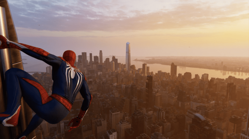 Spider-man hangs from the Empire State Building in Insomniac's SPIDER-MAN.