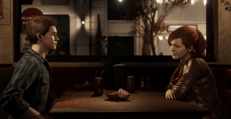Peter and MJ at a diner in Insomniac's SPIDER-MAN.