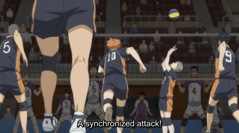 Karasuno performs a synchronized attack in HAIKYU!! THE MOVIE - BATTLE OF CONCEPTS.