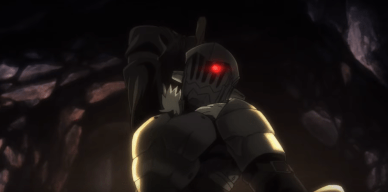 Goblin Slayer readying an attack.