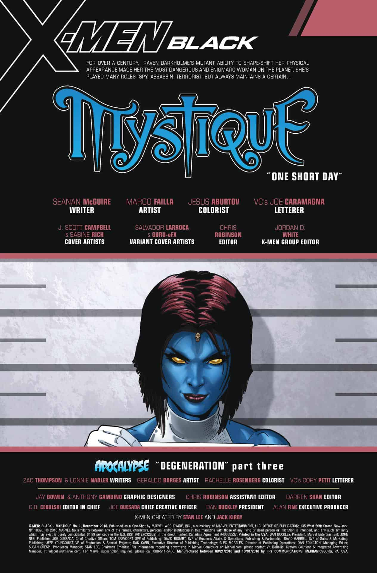 x-men: black - mystique #1