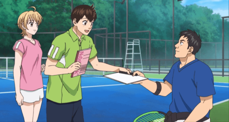 A scene from the tennis anime short by NHK for the 2020 Japanese Summer Olympics