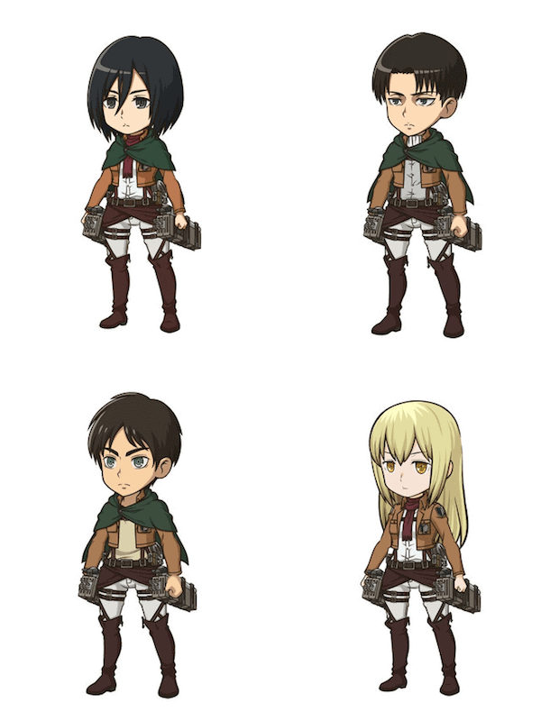 ATTACK ON TITAN models for the DANMACHI: MEMORIA FREESE Crossover