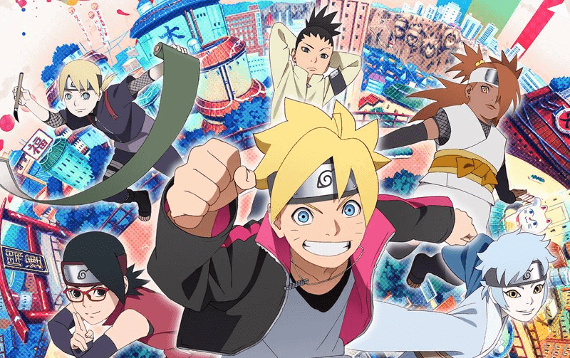 The main cast of BORUTO: NARUTO NEXT GENERATIONS from a VIZ announcement on Twitter