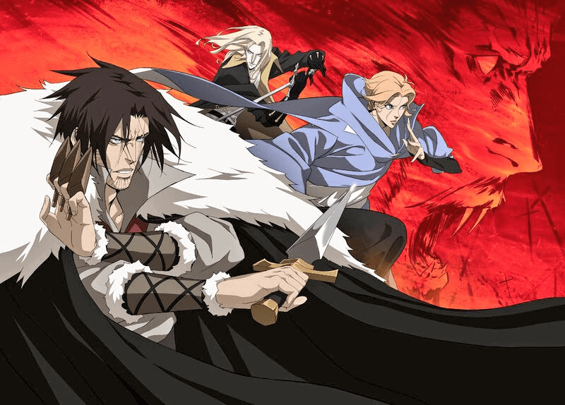 The main cast of Viz's anime version of CASTLEVANIA