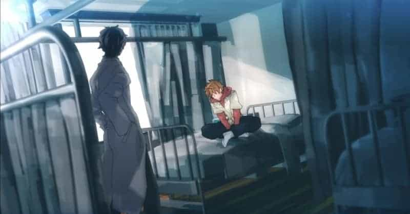 Tamari and Onihara from THIS BOY SUFFERS FROM CRYSTALLIZATION standing in a bedroom together.