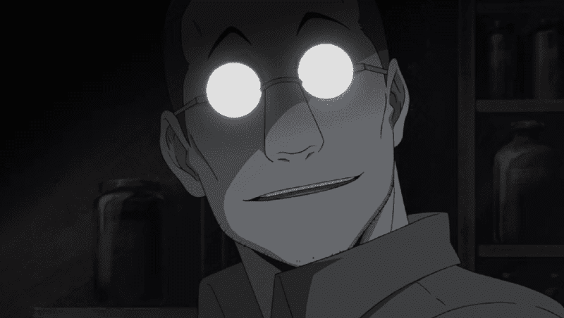 Shou Tucker from Fullmetal Alchemist stares creepily at the camera