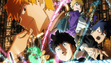 The main characters of MOB PSYCHO 100 on a promotional image for season 2.