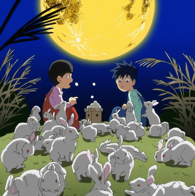 A young Ritsu and Mob sitting under a large moon surrounded by white rabbits in MOB PSYCHO 100 Season 2.