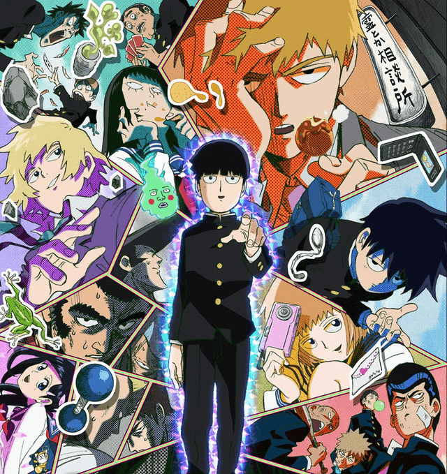Promotional image of the cast of MOB PSYCHO 100