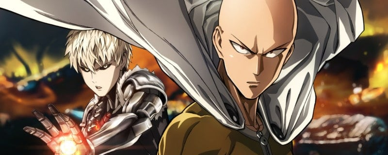Saitama and Genos posing heroically, displaying their unspoken power levels.