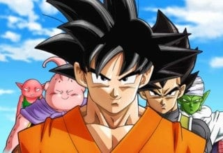 Cast of Dragon Ball Super standing side by side.