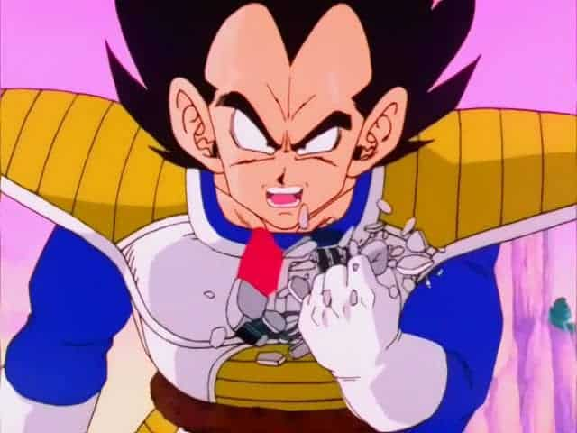 Vegeta breaking his scouter upon finding out Gokus power level.