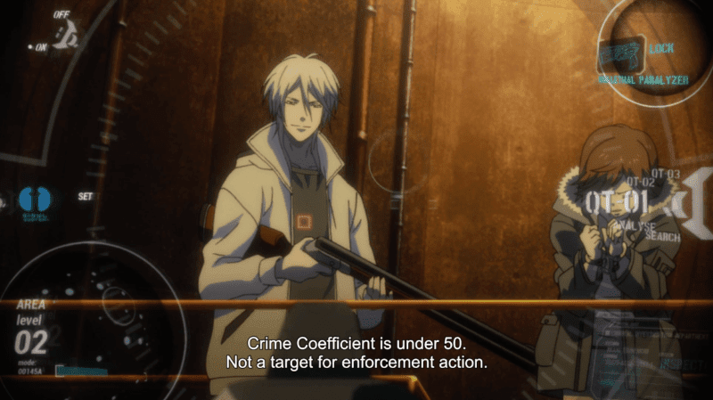 Shogo Makishima has a captive and wields a gun, yet the Sibyl System reads that he is not a target for enforcement action