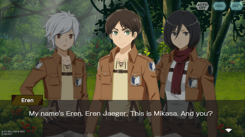 Eren and Mikasa from ATTACK ON TITAN introduce themselves to Bell from DanMachi: Memoria Freese