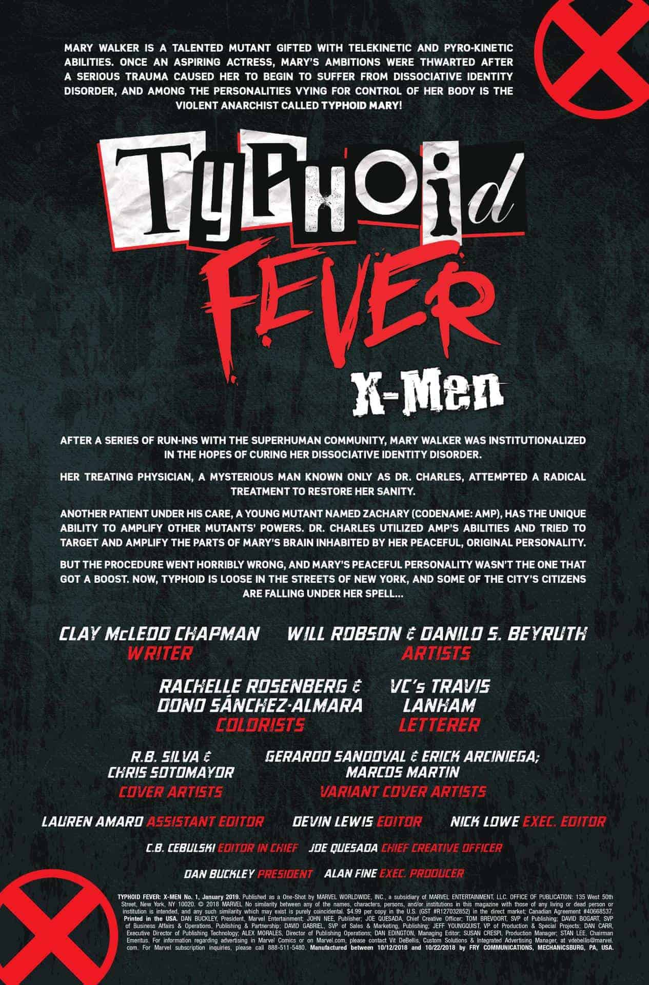 typhoid fever x-men