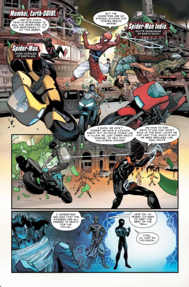 SPIDER-GEDDON #3 Crowded fight Scene