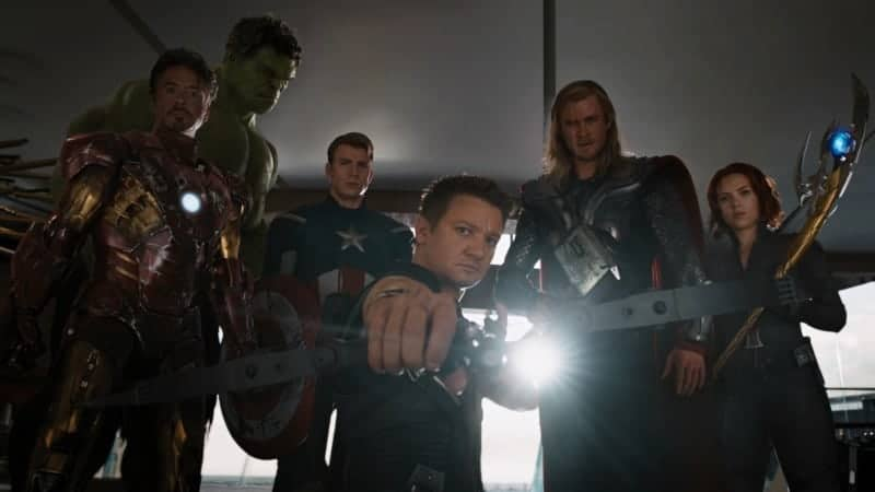 Stan Lee: Avengers from the first Avengers movie - Tony Stark, Hulk, Captain America, Hawkeye, Thor, and Black Widow strike a pose.