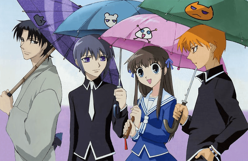 The main characters of FRUITS BASKET, including Shigure, Yuki, Tohru, and Kyo, all standing under umbrellas.