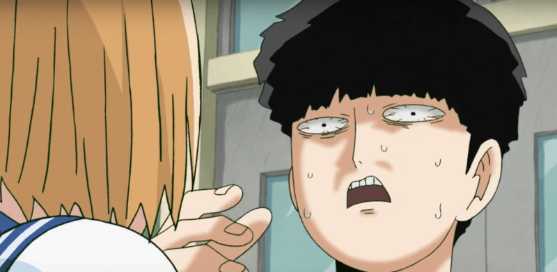 Mob flinches with shock as a classmate correctly guesses who his crush is.