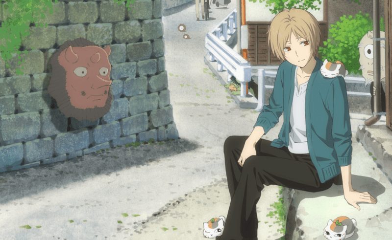 Promotional image for the movie featuring Natsume and the three mini Nyanko-sensei.