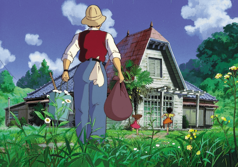 The Kusakabe family from MY NEIGHBOR TOTORO walks toward their new house.