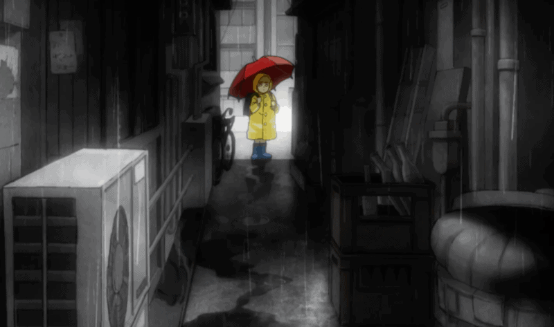 A young Reigen stands transfixed, fearing the urban legend of a woman who kidnaps children on rainy days.