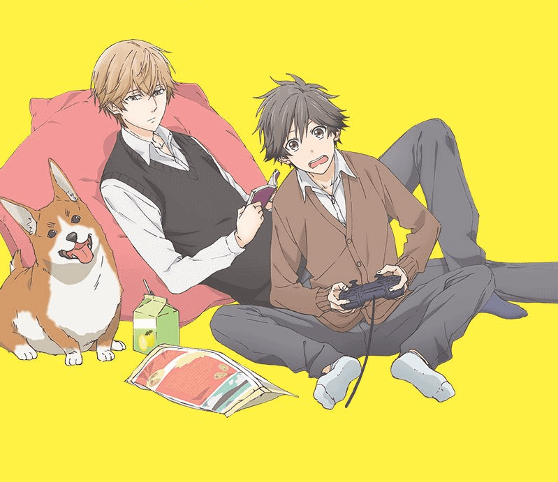 A shot of Asaya and Kensuke playing games with Shigeo from HITORIJIME MY HERO.