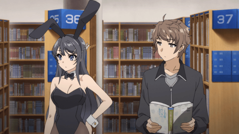 Mai wearing a bunny suit beside Sakuta in RASCAL DOES NOT DREAM OF BUNNY GIRL SENPAI