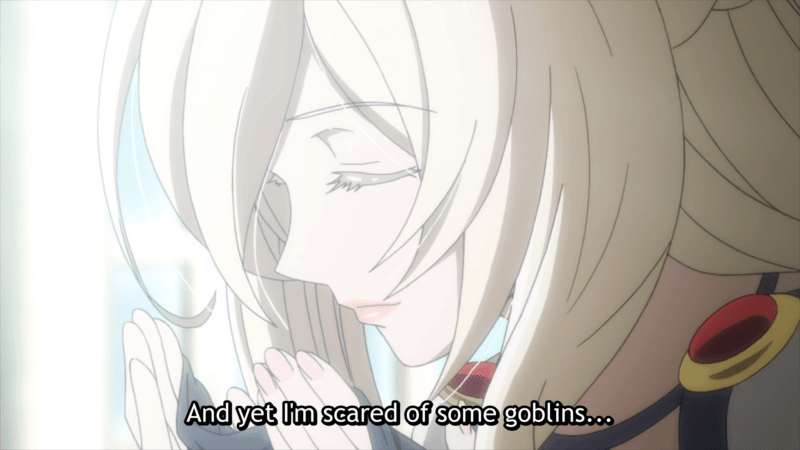 Sword Priestess speaking about her fears in GOBLIN SLAYER