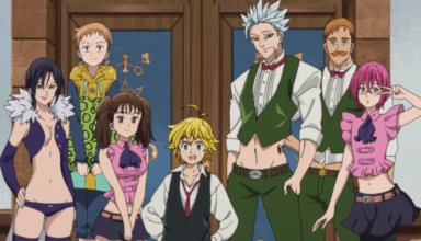 Merlin, King, Diane, Meliodas, Ban, Escanor, and Gowther pose for the camera in an after-credits scene from PRISONERS OF THE SKY.