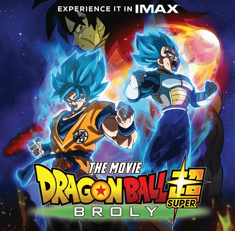 Poster for DRAGON BALL SUPER: BROLY, featuring Goku, Vegeta, and Broly.