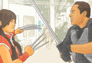 A drawn picture showing a man and woman in cosplay facing off at an anime convention.