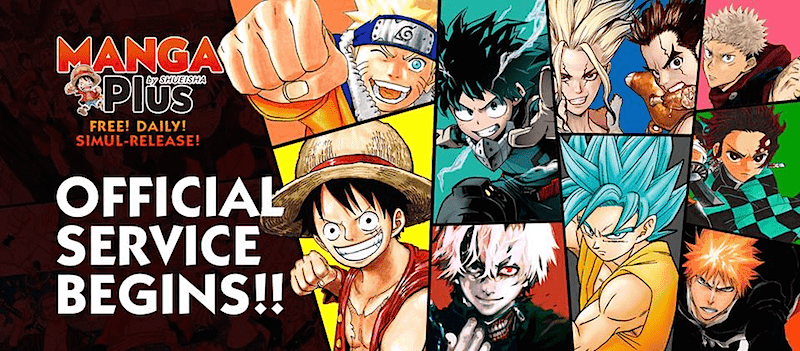 MANGA Plus's Facebook cover photo advertising its start, featuring famous Shueisha characters Naruto, Luffy, Deku, and more.