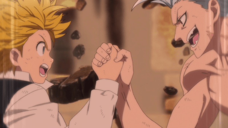 Meliodas (left) and Ban (right) arm wrestle, causing an entire building to crumble around them.
