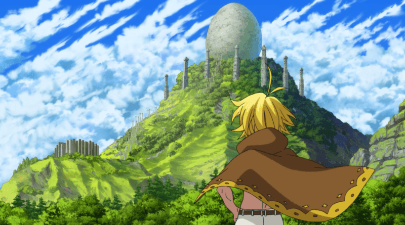 PRISONERS OF THE SKY features lush green landscapes and giant eggs.