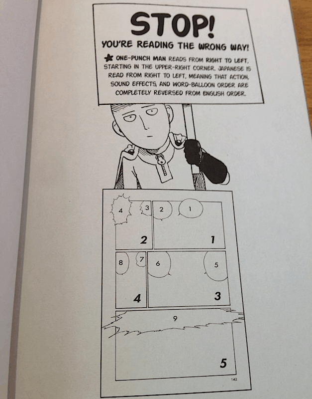 An insert from a ONE PUNCH MAN book instructing people to read the right way.