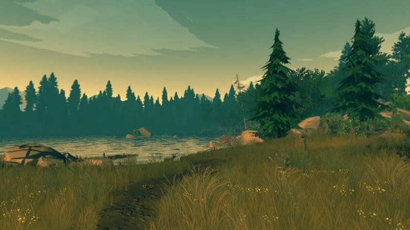 A view of a lake in FIREWATCH