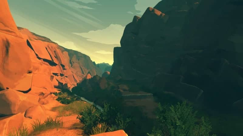 A large canyon sunset in FIREWATCH
