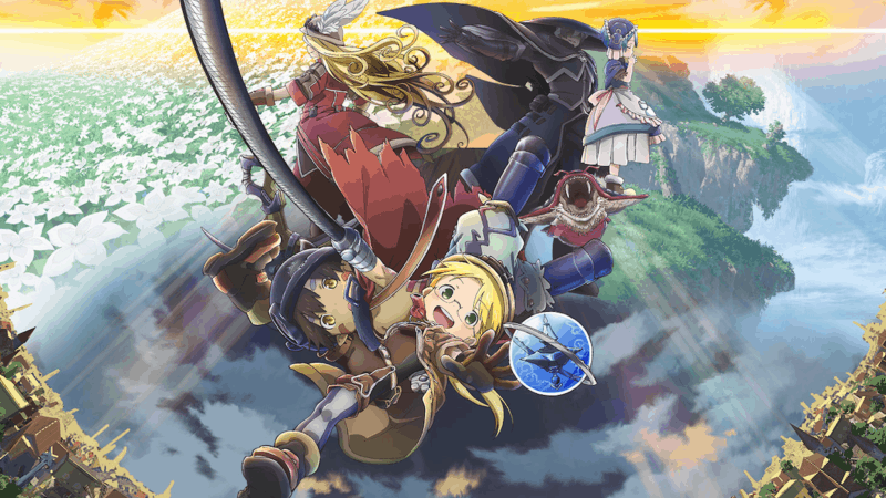 A section of the poster for MADE IN ABYSS: JOURNEY'S DAWN featuring the main cast in front of a shot of the Abyss.
